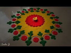 Awesome creative pink color rose rangoli design in 2 min easy quick & simple method | - YouTube