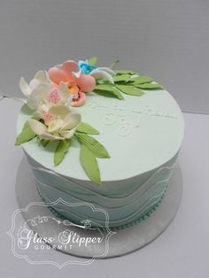 www.GlassSlipperGourmet.com - Elegant Hawaiian Birthday cake with sugar flowers #tropicalbirthdaycake #sugarflowers #glassslippergourmet