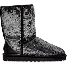 Ugg Australia Women Short Classic Sparkle Sequined Boots ($270) ❤ liked on Polyvore featuring shoes, boots, ankle booties, uggs, items, short sparkle boots, ugg australia, sequin booties, short sequin boots and short booties