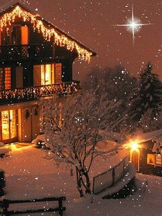 Snowing during Christmas season, with a star sparkling so vivd.