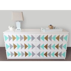 Triangle Nursery Design Decals Dresser Decals Fit Any Malm Ikea... ($19) ❤ liked on Polyvore featuring home, children's room, children's decor, home & living, home décor, silver, wall decals & murals and wall décor