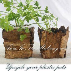 Upcycle Plastic Pots With Bark Garden Indoor Plants