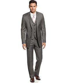 Alfani RED Suit Separates Mid-Grey Stepweave Slim Fit - Suits & Suit Separates - Men - Macy's