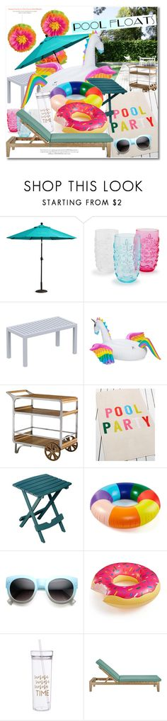 """""""Pool Party"""" by vkmd ❤ liked on Polyvore featuring interior, interiors, interior design, home, home decor, interior decorating, Improvements, Sur La Table, Compamia and Funboy"""