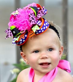 Bright Halloween Over the Top Hair BowBig Bows by BBOWSBOUTIQUE
