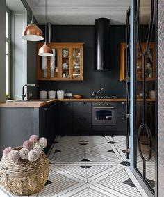 Casinha colorida: Tendência 2018: cozinhas negras