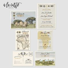 African Safari Destination Wedding Invitation Suite Kenya Rustic Zoo Illustrated invitation vintage map Elephants Giraffe