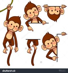 cute monkey illustrations - Google Search
