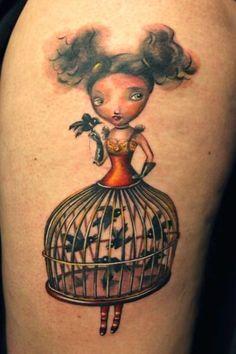 Tattoo by Ivana Belakova #InkedMagazine #tattoo #tattoos #cage #doll #bird #ink