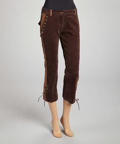Love this Brown Studded Capri Pants on #zulily! #zulilyfinds - perfect for Steampunk or Browncoat cosplay....