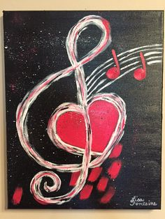 Acrylic Painting on Canvas by Lisa Fontaine. Music. Heart.