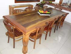 Wooden Dining Table Designs, Wooden Dining Chairs, Wood Table, Table And Chairs, Wood Bed Design, Luxury Chairs, Woodworking Furniture Plans, My Home Design, Furniture Legs