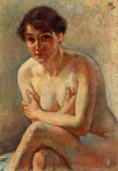 Femme nue, huile sur toile de Theo Van Rysselberghe (1862-1926, Belgium)