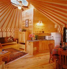 Pacific Yurts – Yurt Photo Gallery - bright interior w/ light wood