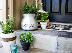 Front Porch Flower Pots - Nice pots in different arrangements. Oodles of ideas for your next yard project.