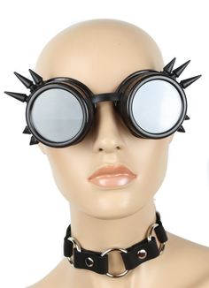 7671c442d36  14.99 - Steampunk Black Spike Goggles Cyber Punk Biker Gothic Rave Cosplay  Aviator  ebay  Fashion