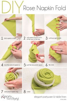 50 Attention-Grabbing Napkin Folding Ideas that You Cannot Overlook For the forthcoming festival season, learn how to fold napkins in unique shapes like hats, shirt, flowers etc. Explore creative napkin folding ideas here. folding ideas with rings Napkin Folding Rose, Napkin Rose, Napkin Rings, Folding Napkins, How To Fold Napkins, Linen Napkins, Paper Napkins, Christmas Tree Napkin Fold, Deco Table Noel