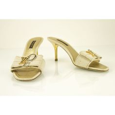 f955879f888081 Louis Vuitton Cream Canvas LV That  s Love Open Toe Mules Heels Sandals sz  36