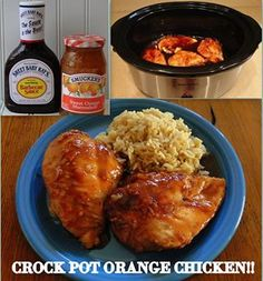 Easy Crock Pot Orange Chicken! - Even Easier Sauce     Sauce - Mix Orange Marmalade, BBQ sauce, and Soy Sauce!  ...   Cook Chicken Breasts in the Crock-Pot, DRAIN THE JUICE, then pour the Mix over the Chicken and cook for another 30 on high. So easy... SO easy!!    detailed recipe - http://myfridgefood.com/ViewRecipe.aspx?recipe=21035