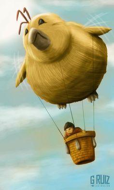 Ilustracion para cuento infantil - El vuelo en pollo