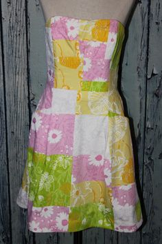 Lilly Pulitzer Blossom Fresh Picked Patch Patchwork Corset Strapless Dress L 10