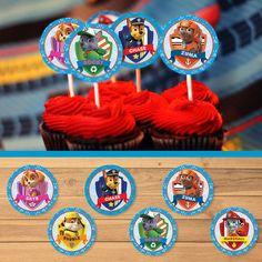 Paw Patrol Cupcake Toppers Blue * Paw Patrol Birthday * Paw Patrol Stickers * Paw Patrol Favors * 2 inches