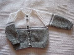 Grey and white baby cardigan no pattern just a suggestion for changing colours, . : Grey and white baby cardigan no pattern just a suggestion for changing colours, Baby Cardigan Knitting Pattern Free, Baby Boy Knitting Patterns, Baby Sweater Patterns, Crochet Baby Cardigan, Knit Baby Sweaters, Knitting Designs, Booties Crochet, Boys Sweaters, Crochet Hats