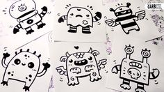 6 little monsters for your doodles - Hello Cute Doodles - Easy and Kawai...