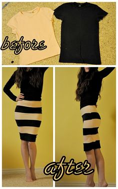 T-shirts to striped skirt.