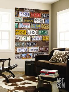 Inspiration for an Eclectic Boy's Room...Old License Plates Art