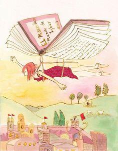 Volando con la lectura (ilustración de Antonia Roselló)