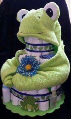 Frog blanket diaper cake