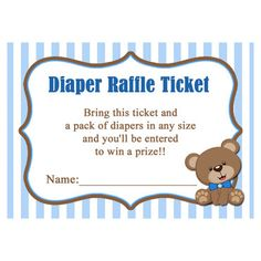 Bear Diaper Raffle Printable - Instant Download - Little Teddy Bear Collection