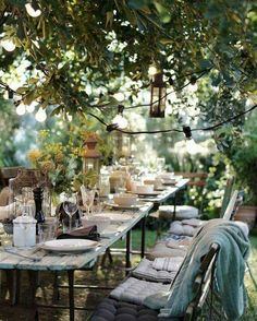 Romantic outdoor table setting