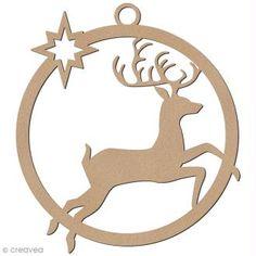 Forme en bois à suspendre - boule de Noël Cerf bondissant - 7 cm Christmas Wood, Christmas Baubles, Christmas Crafts, Christmas Decorations, Wood Crafts, Diy And Crafts, Christmas Templates, Scroll Saw Patterns, Wood Ornaments