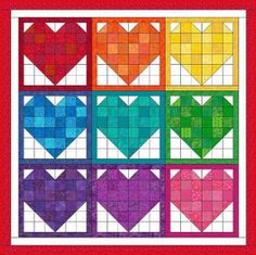 Rainbow Hearts Nine Patch Quilt | FaveQuilts.com  Maybe just 4 hearts?