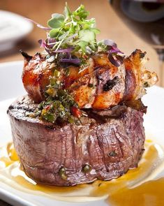 Woodfire grilled surf & turf with prime-grade tenderloin steak and rock lobster tails dressed in a herb-butter and a garden of fresh herbs. Courtesy: The uber talented Chef Philippe Surf And Turf, Gourmet Recipes, Beef Recipes, Healthy Recipes, Tenderloin Steak, Food Porn, Fancy Dinner Recipes, Herb Butter, Fresh Seafood