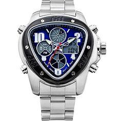 77ec9dbbd5d EUROSPIRIT Men s LCD Dualtime Chronograph Sports Wrist Watch