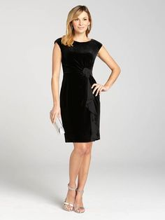 """Laura Petites: for women 5' 4"""" and under. This body-skimming velvet dress hugs your figure for a flattering fit. A chiffon cascade ruffle starts at the waist embellishment and rests at the hemline. It's a look that's undeniably holiday-wort...4030103-0501"""
