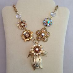 Flower Necklace Pendant Vintage Jewelry Crystal Beads by ravished, $48.00