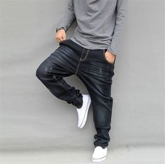 American Style Mens Elasticity Jeans Loose Big Leisure Jeans Men Autumn Men's Hip Hop Jean Long Skate Board Harem Pants