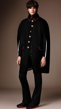 Black Wool Cashmere Military Cape - Image 1