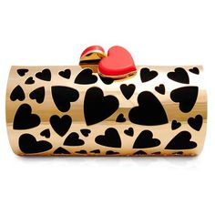 SHANA LONDON: Heart Love Clutch-A unique, stylish clutch! It is a heart cut-out fold metal frame clutch with black satin lining. £832 @gift-library.com #clutch #handbag