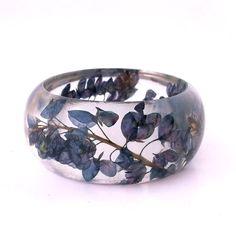 Botanical Statement Bangle. Blue Purple Contemporary Jewelry.  Handmade Modern Chunky Bracelet. Unique Art. Bracelet. Engraved Bracelet Gift...