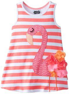 Mud Pie Little Girls' Flamingo Dress,Coral/Pink,3T