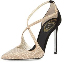 Rene Caovilla Crystallized Satin/Suede Cross-Strap d'Orsay Pump