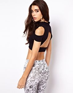 ASOS Crop with Cold Shoulder and Cut Out Back