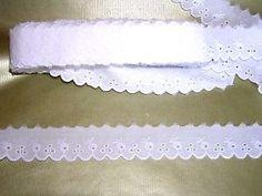 a mercerie broderie dentelle anglaisee 35 cm hq coton au metre neuf blanc