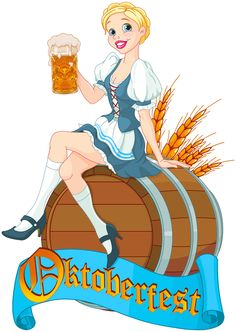 Girl with beer oktoberfest vector material 01