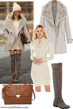 Helena Glazer Brooklyn Blonde in a white sweater dress, tan coat, taupe over the knee boots, with a brown bag